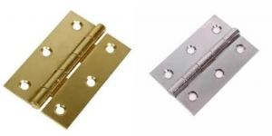2 X Steel Zinc/brass Plated Butt Door Hinges + Screws